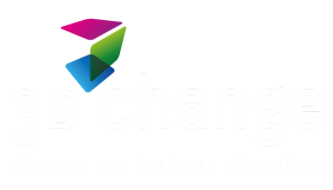 3d change logo with white text, discover new business dimensions