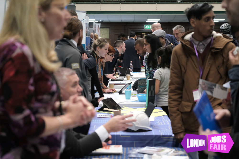 Stands at the jobs fair meeting jobseekers