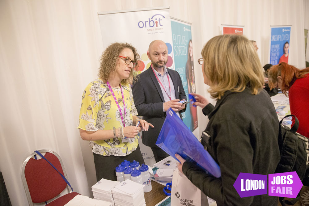Orbit housing stand at the jobs fair meeting jobseekers