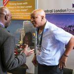Central London Forward stand at the jobs fair meeting jobseekers